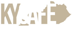 Kentucky Safe logo in blue and brown with image of the commonwealth in the background.